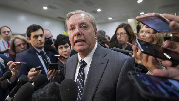 "Sen. Lindsey Graham, R-S.C., says he's convinced that Saudi Arabia's Crown Prince Mohammed bin Salman was ""complicit in the murder"" of journalist Jamal Khashoggi. He spoke to reporters after a closed-door security briefing by CIA Director Gina Haspel."