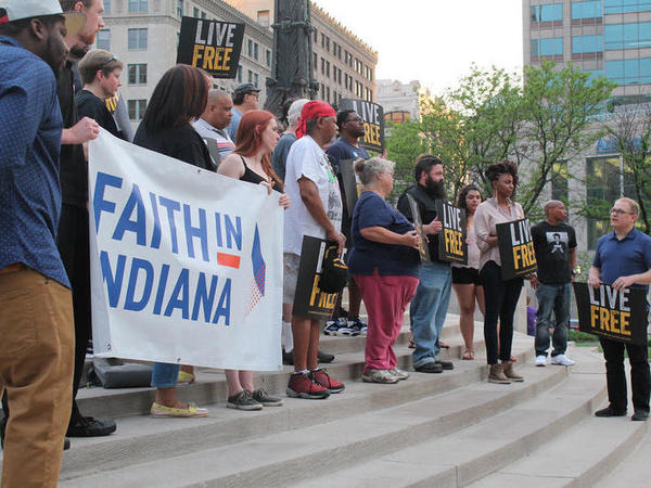 A crowd of faith-based progressive activists rally in Indianapolis. The religious left in Indiana are working to make inroads in the state legislature, long-dominated by conservative Republicans.
