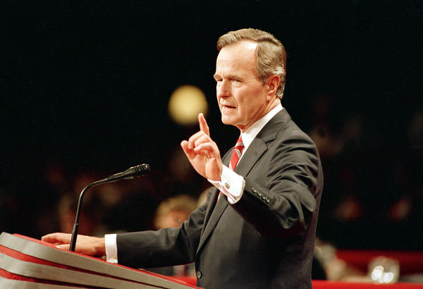 Vice President George H.W. Bush accepts the Republican nomination for president in 1988. In that speech, he laid out a promise that he would later break, hurting his chance at re-election and changing his party.