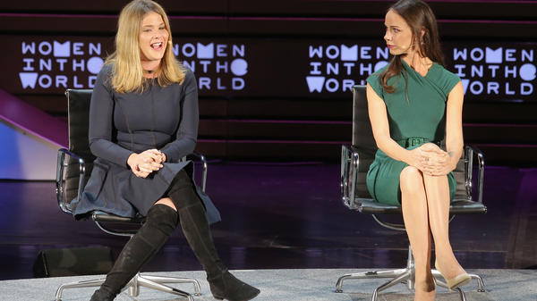 George H.W. Bush's granddaughters Jenna Bush Hager and Barbara Bush speak at the Women in the World Summit in New York City in April 2016.