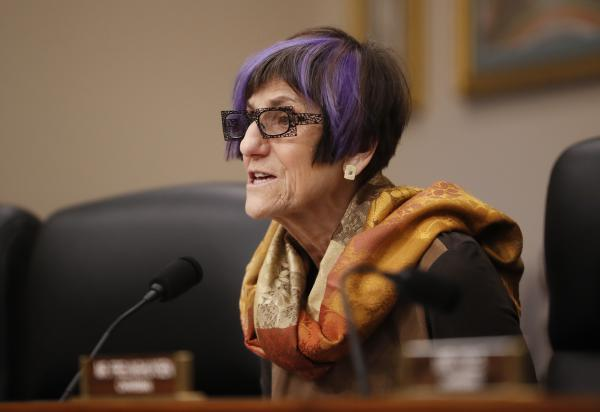 Ranking member Rep. Rosa DeLauro, D-Conn., questions Education Secretary Betsy DeVos at a House Committee on Appropriation subcommittee hearing on Capitol Hill in Washington in March.