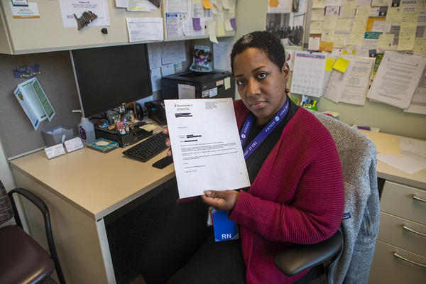 Isela was denied life insurance because her medication list showed aprescription for the opioid-reversal drug naloxone. The Boston Medical Center nurse says she wants the drug to save others. (Jesse Costa/WBUR)