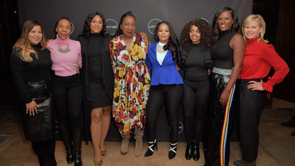 From left: Lizzette Martinez, Andrea Kelly, Lisa Van Allen, Tarana Burke, Kitti Jones, Jerhonda Pace, Asante McGee and Gretchen Carlson, photographed prior to a screening of the Lifetime series <em>Surviving R. Kelly </em>on Dec 4, 2018 in New York. The event was evacuated after multiple anonymous threats were made.
