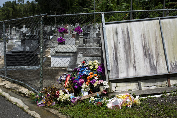 Friends and relatives of the dead leave flowers at the gates because they cannot enter the cemetery.