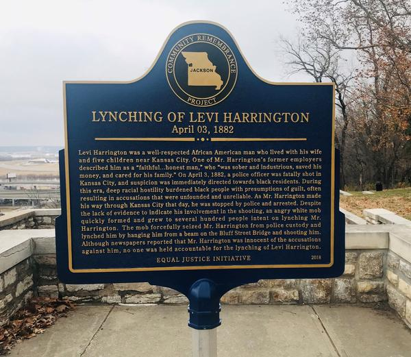 The Levi Harrington memorial marker has been placed in West Terrace Park overlooking the Missouri River.
