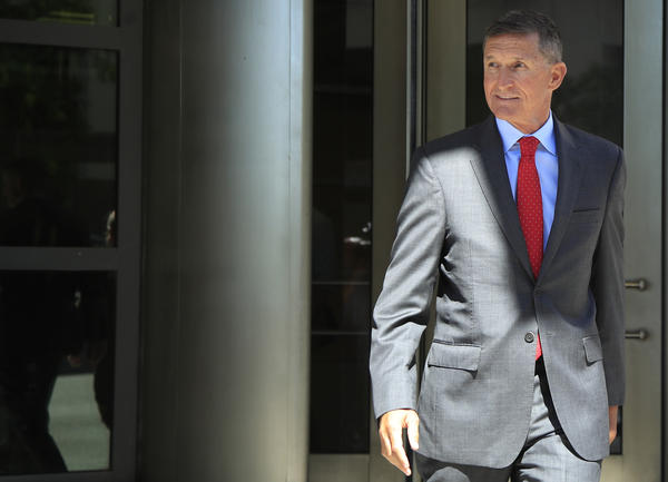 President Trump's national security adviser Michael Flynn leaves federal courthouse in Washington on July 10. Flynn has pleaded guilty to lying to the FBI and is scheduled to be sentenced later this month.