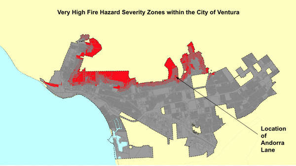 """CalFire's """"very high fire hazard severity zone"""" map of the City of Ventura. Areas colored red have very high fire risk. Andorra Lane is in one such area."""
