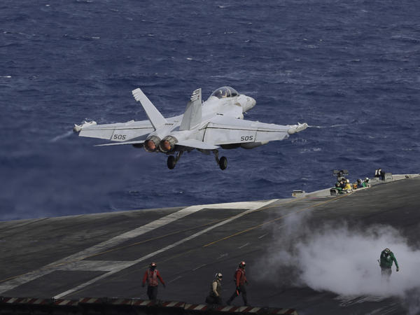 An F/A-18 Super Hornet fighter similar to one involved in an incident off the coast of Japan.