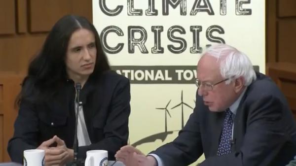 Xiuhtezcatl Martinez and Bernie Sanders speaking at National Town Hall on solutions to the climate crisis, December 3, 2018