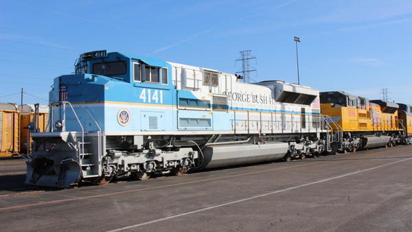Union Pacific Locomotive 4141 will transport the remains of President George H.W. Bush, along with his family and friends, from Spring to College Station. He will be buried at his presidential library at Texas A&M University.
