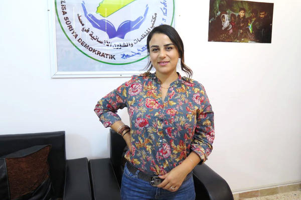 """Zozan Alloush is the co-chair of development and humanitarian affairs in the Syrian Democratic Council. """"I'm a women's rights activist, and I don't like seeing women all the time as victims. But in this case, most of them really are victims,"""" she says."""