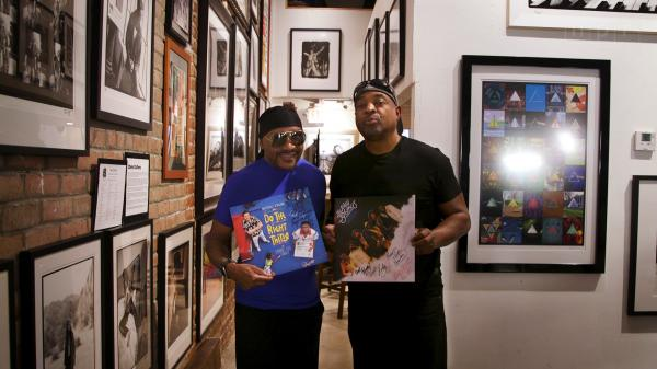"Ernie Isley (left) of The Isley Brothers and Chuck D of Public Enemy met at Mr Musichead Gallery in Los Angeles to discuss their respective versions of ""Fight the Power."""