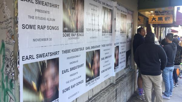 Promotional posters for Earl Sweatshirt's <em>Some Rap Songs</em> in downtown LA.