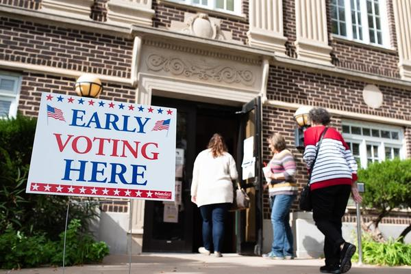 Voters enter the McClain County Election Board building in Purcell on Friday, Nov. 2, the second day of early voting.