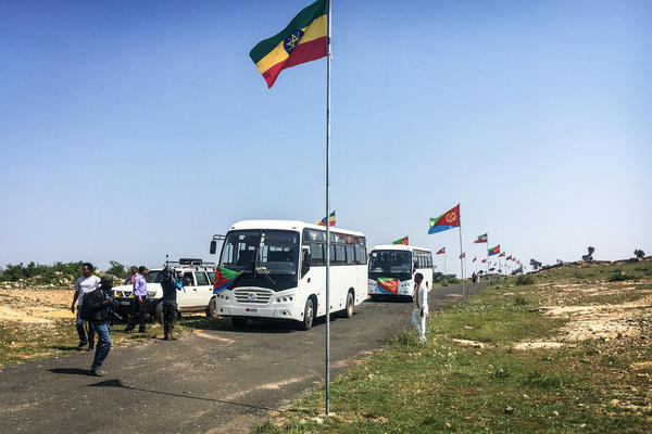 National flags are seen along the road to Eritrea in Zalambessa, northern Ethiopia, in September before a border reopening ceremony. Two land border crossings between Ethiopia and Eritrea were reopened for the first time in nearly 20 years.
