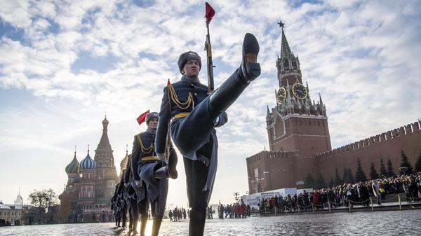 Russian honor guards march during a military parade at Red Square in Moscow last month. Discussions about possibly building a Trump Tower in Moscow have played a key role in the Cohen investigation.