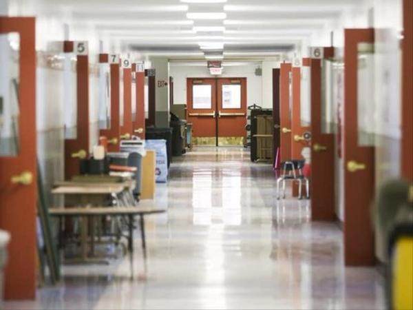 <p>An empty hallway at Auburn Elementary School in Salem before school starts. Auburn was originally expected to be rebuilt under the proposed bond measure for the May 2018 ballot.</p>
