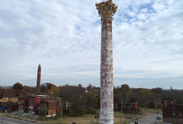 A drone photo of the two north St. Louis water towers taken November 14. The Grand Avenue Water Tower is shown in the forefront and the Bissell Street Water Tower is in the background.