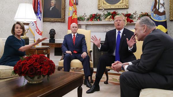 With a partial government shutdown on the horizon, President Trump and Democratic leaders had a heated exchange over border security and wall funding in front of reporters.