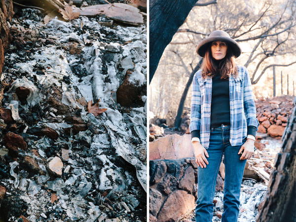 Left: On Linda Rappoport's property, the glass liquefied and flowed like a river, before solidifying again. Right: Rappoport lives behind the Rock Store. The house she had just finished remodeling two days before the fire burned to the ground. Another smaller front house was left standing. She was sleeping when the evacuation orders were announced and awoke to the fire surrounding her property.