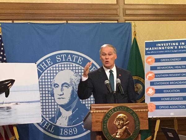 Gov. Jay Inslee announced his proposed budget for the 2019-21 biennium at a Capitol news conference Thursday.