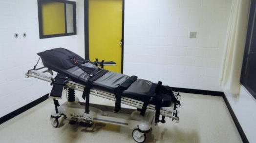 This undated photo shows the death chamber at the Georgia Diagnostic Prison in Jackson, Ga. Public support for the death penalty has declined sharply in the past two decades, according to polls.