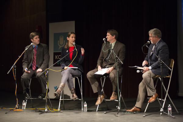 (From left to right) Kansas News Service reporters Stephen Koranda and Celia Llopis-Jepsen, Washburn University political scientist Bob Beatty, and podcast host Jim McLean