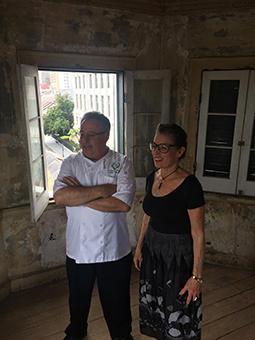 Chef Chris Montero and Poppy in the Napoleon House Cupola