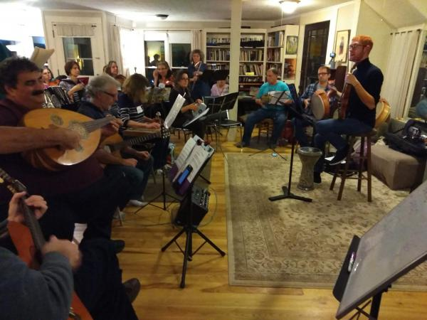 Members of the Pioneer Valley Arabic Music Ensemble, rehearsing in Northampton, Massachusetts.