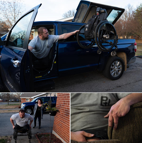 Top, Ret. Sgt. Chris Kurtz waits for his chair after arriving home. Bottom left, Kurtz wheels himself up to his front door as his wife and caretaker Heather Kurtz follows behind. Bottom right, Kurtz rests his hand, which is missing fingers from his injury.