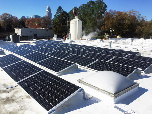 A rooftop solar project at Birdsong Brewing in Charlotte was among those that got Duke Energy rebates in 2018.