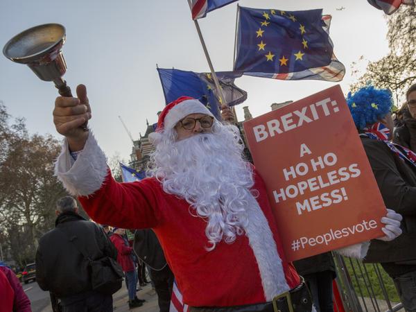 Anti-Brexit activists protest outside Parliament Dec. 11.