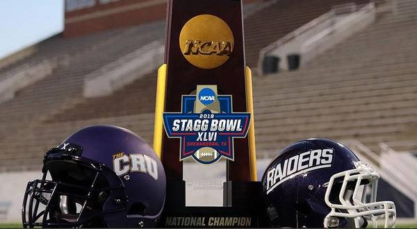 No. 1 ranked University of Mount Union plays No. 2 ranked University of Mary Hardin-Baylor in the Stagg Bowl, the national championship game of the 2018 NCAA Division III Football Playoffs.