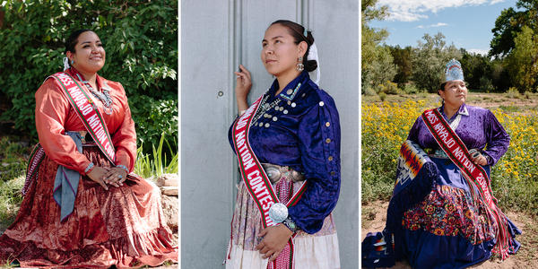 Miss Navajo Nation contestants (from left) Kayla Martinez, 23, of Window Rock, Ariz.; Summer Jake, 25, of Goat Springs, Ariz.; and Autumn Montoya, 21, of Torreon, N.M.