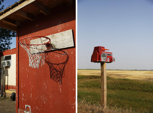 Left: The basketball hoop outside Angel's family's mobile home. Right: A mailbox by the road in Minto, N.D.