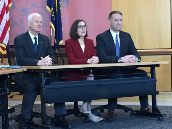 <p>Oregon Secretary of State Dennis Richardson, left, Gov. Kate Brown, and Oregon Treasurer Tobias Read make up Oregon's State Land Board.</p>