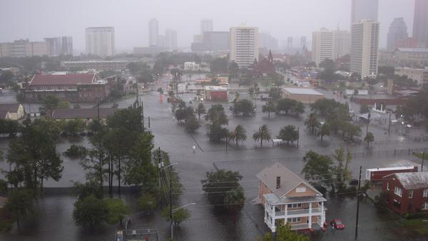 Flooding in Jacksonville during Hurricane Irma is pictured.