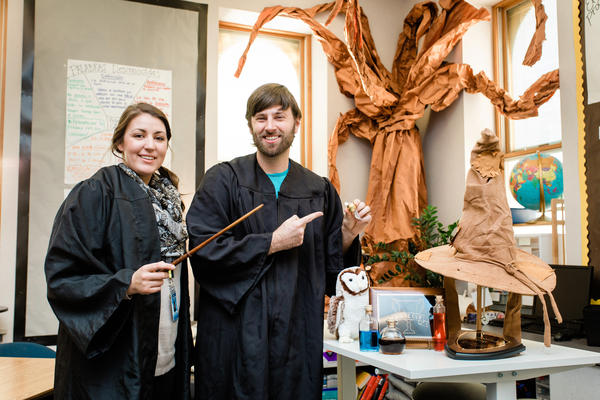 Kate Keyes and Ben VanDonge are two-thirds of a fifth-grade teaching team in Walla Walla, Wash. This year marks their third doing an all-encompassing Harry Potter theme.