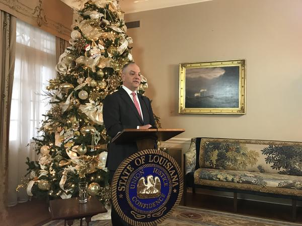 Governor John Bel Edwards gave his end-of-the-year press conference on Thursday, December 20, 2018 at the Governor's Mansion in Baton Rouge.