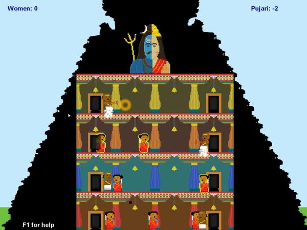 In the video game Darshan Diversion, avatars of women in red saris try to reach the top of a temple but are thwarted by Hindu priests if a red blinking light indicates that the women are menstruating.