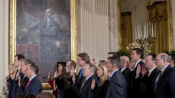 Senior staffers were sworn in at a ceremony in the East Room of the White House on Jan. 22, 2017. Many of them are gone now.