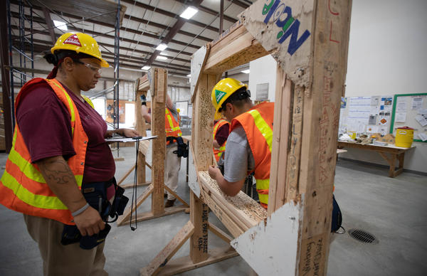 Inmates practicing on a skills test as part of the TRAC prgram at the Washington's correctional center in Gig Harbor.