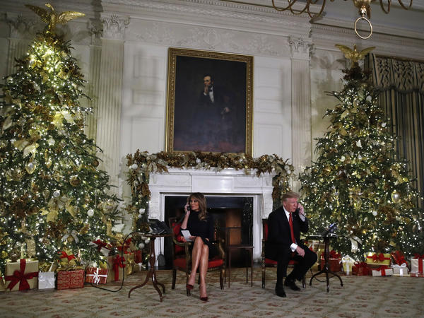 President Trump and first lady Melania Trump speak on the phone sharing updates to track Santa's movements from the NORAD Santa tracker on Christmas Eve.