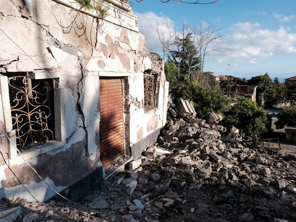 Damaged buildings in Zafferana Etnea, Sicily, on Wednesday after a quake shook the area before dawn.