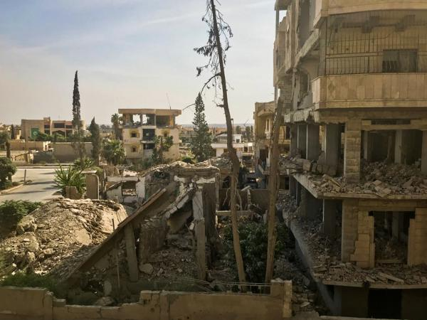 A view of a destroyed Raqqa neighborhood.