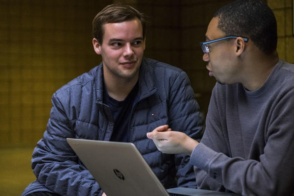 Cameron Russell (left) is a freshman at the University of Michigan from rural Louisiana. His mentor is Elijah Taylor, a senior who grew up in Detroit.