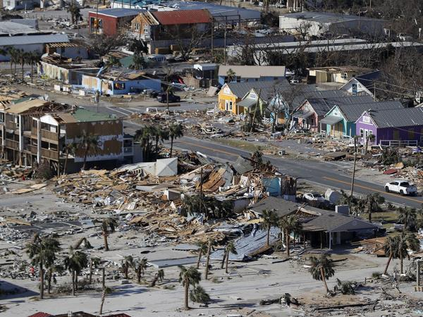 The devastation from Hurricane Michael over Mexico Beach, Fla. A massive federal report released in November warns that climate change is fueling extreme weather disasters like hurricanes and wildfires.
