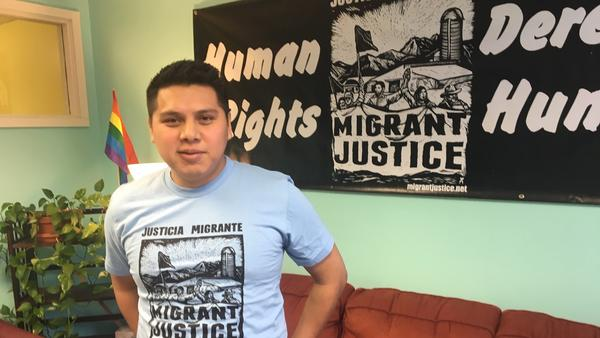 Enrique Balcazar, a leader of a local group called Migrant Justice, faces deportation. He says records show his immigration status was flagged to ICE by a DMV worker in emails. ICE says it does not target political activists.