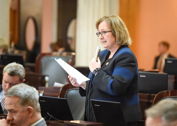Rep. Laura Lanese (R-Grove City) speaks on the Ohio House floor in April 2018.