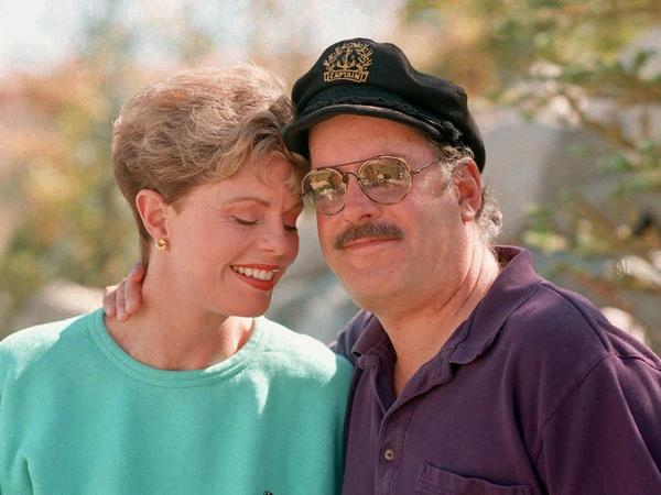 "Toni Tennille, left, and ""Captain"" Daryl Dragon, of the singing duo The Captain & Tennille, pose during an interview at their home in Nevada in 1995."